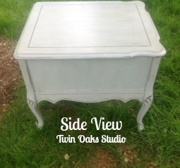 shabby blue table side