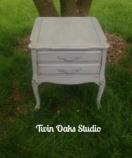 shabby blue table
