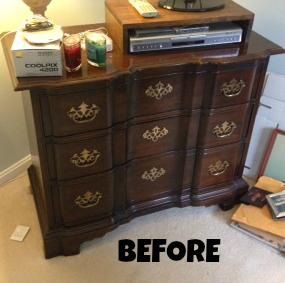 green dresser before
